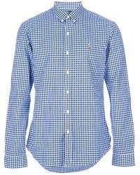 Бело-синяя рубашка с длинным рукавом в мелкую клетку