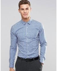Мужская бело-синяя рубашка с длинным рукавом в мелкую клетку от Asos