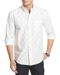 Бело-синяя рубашка с длинным рукавом с принтом