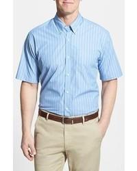 Бело-синяя рубашка с коротким рукавом в вертикальную полоску