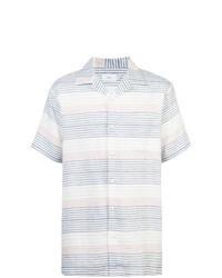 Бело-синяя рубашка с коротким рукавом в горизонтальную полоску