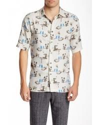 Бело-синяя рубашка с коротким рукавом с принтом
