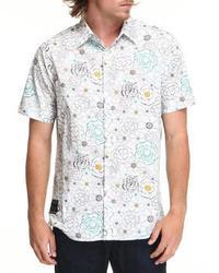 Бело-синяя рубашка с коротким рукавом с цветочным принтом