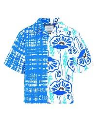Мужская бело-синяя рубашка с коротким рукавом с цветочным принтом от Prada