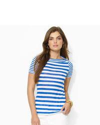 Бело-синяя футболка с круглым вырезом в горизонтальную полоску