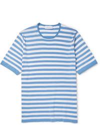 Мужская бело-синяя футболка с круглым вырезом в горизонтальную полоску