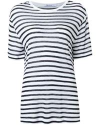 Женская бело-синяя футболка с круглым вырезом в горизонтальную полоску от Alexander Wang