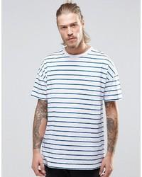 Мужская бело-синяя футболка с круглым вырезом в горизонтальную полоску от Asos