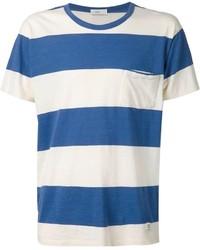 Мужская бело-синяя футболка с круглым вырезом в горизонтальную полоску от Closed