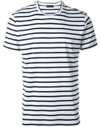 Мужская бело-синяя футболка с круглым вырезом в горизонтальную полоску от Etro