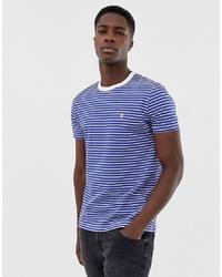 Мужская бело-синяя футболка с круглым вырезом в горизонтальную полоску от French Connection