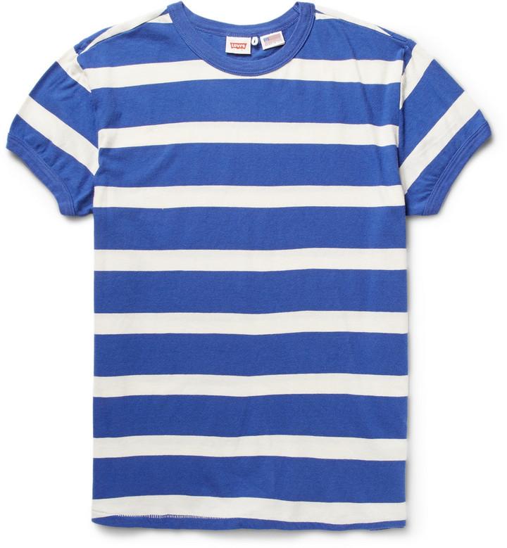 Мужская бело-синяя футболка с круглым вырезом в горизонтальную полоску от Levi's