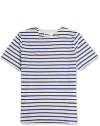Мужская бело-синяя футболка с круглым вырезом в горизонтальную полоску от Margaret Howell