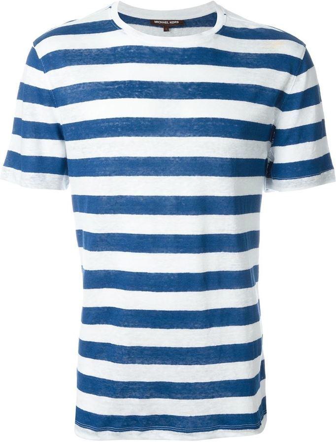 Мужская бело-синяя футболка с круглым вырезом в горизонтальную полоску от Michael Kors