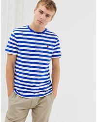 Мужская бело-синяя футболка с круглым вырезом в горизонтальную полоску от Polo Ralph Lauren