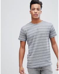 Мужская бело-синяя футболка с круглым вырезом в горизонтальную полоску от Solid