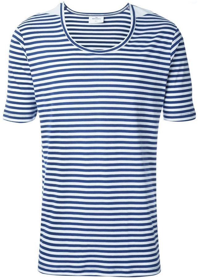 Мужская бело-синяя футболка с круглым вырезом в горизонтальную полоску от THE WHITE BRIEFS