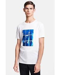 Бело-синяя футболка с круглым вырезом с принтом