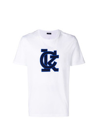 Мужская бело-синяя футболка с круглым вырезом с принтом от Calvin Klein