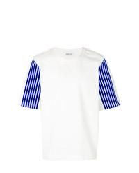 Мужская бело-синяя футболка с круглым вырезом с принтом от Dima Leu