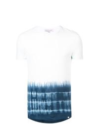 Мужская бело-синяя футболка с круглым вырезом с принтом от Orlebar Brown