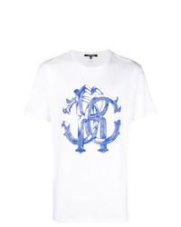 Мужская бело-синяя футболка с круглым вырезом с принтом от Roberto Cavalli