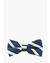 Мужской бело-темно-синий галстук-бабочка в горизонтальную полоску от Churchill accessories