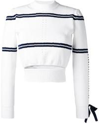 Бело-темно-синий короткий свитер в горизонтальную полоску от Fendi