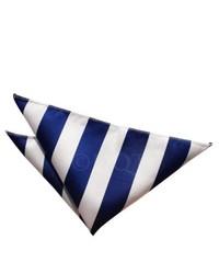 Бело-темно-синий нагрудный платок в вертикальную полоску