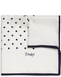 Бело-темно-синий нагрудный платок в горошек