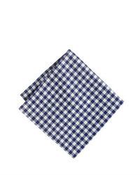 Бело-темно-синий нагрудный платок в мелкую клетку