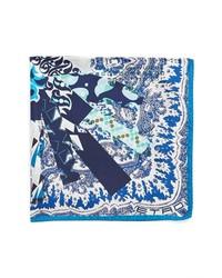 Бело-темно-синий нагрудный платок с принтом