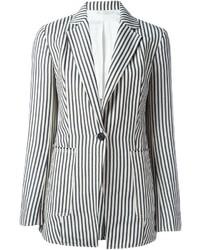 Бело-темно-синий пиджак в вертикальную полоску