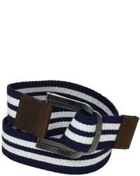 Бело-темно-синий ремень из плотной ткани