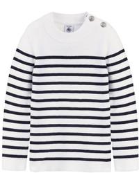 Бело-темно-синий свитер в горизонтальную полоску
