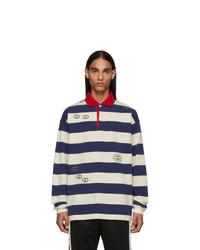 Бело-темно-синий свитер с воротником поло в горизонтальную полоску