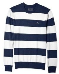 Бело-темно-синий свитер с круглым вырезом в горизонтальную полоску