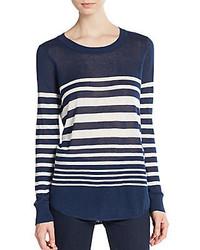 Женский бело-темно-синий свитер с круглым вырезом в горизонтальную полоску от Splendid