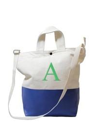Бело-темно-синяя большая сумка из плотной ткани