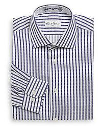 Бело-темно-синяя классическая рубашка в вертикальную полоску