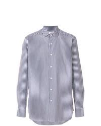 Мужская бело-темно-синяя классическая рубашка в вертикальную полоску от Bagutta
