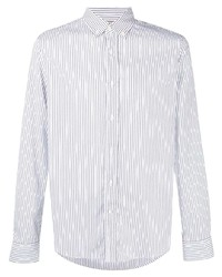 Мужская бело-темно-синяя классическая рубашка в вертикальную полоску от Brunello Cucinelli