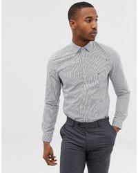 Мужская бело-темно-синяя классическая рубашка в вертикальную полоску от Calvin Klein