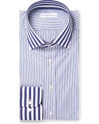 Мужская бело-темно-синяя классическая рубашка в вертикальную полоску от Etro
