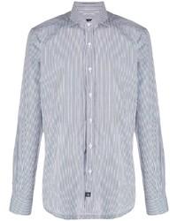 Мужская бело-темно-синяя классическая рубашка в вертикальную полоску от Fay