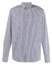 Мужская бело-темно-синяя классическая рубашка в вертикальную полоску от Sandro Paris