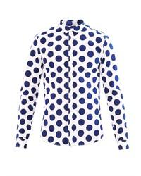 Бело-темно-синяя классическая рубашка в горошек