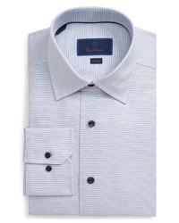 Бело-темно-синяя классическая рубашка в клетку