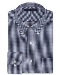 Бело-темно-синяя классическая рубашка в мелкую клетку