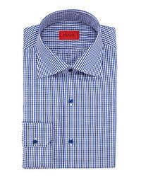 Бело-темно-синяя классическая рубашка